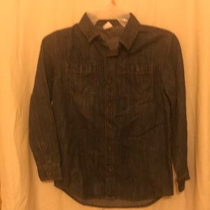 Denim shirt med NWT button front long sleeve and